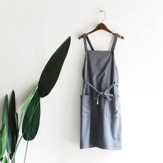 River water mountain - Hiroshima iron gray large pocket plain elegant antique one-piece cotton sling long skirt dress dress