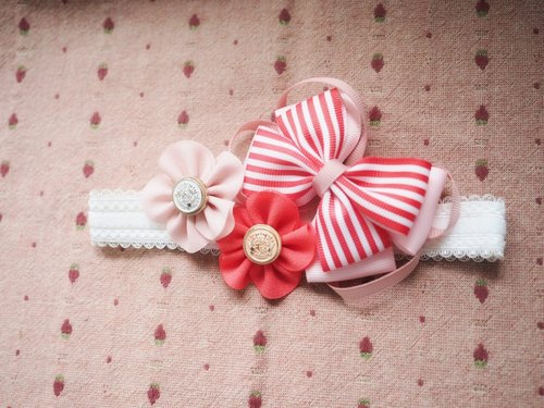 Handmade Red stripe Ribbon bow baby/kid headband/ hair accessory