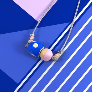 Puppets wood necklace small section 20mm blue dot hexagonal + pink ball rope necklace pendant