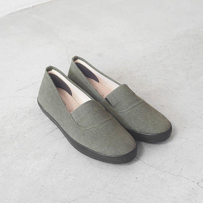 寵愛媽媽禮物 | 素色百搭.大人女子日.鬱草綠.水洗棉麻.帆布鞋