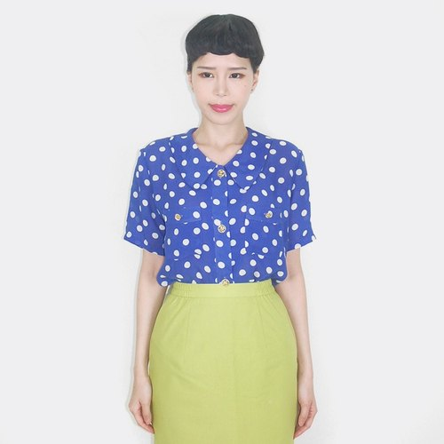 Navy blue short-sleeved shirt vintage white little AQ4032