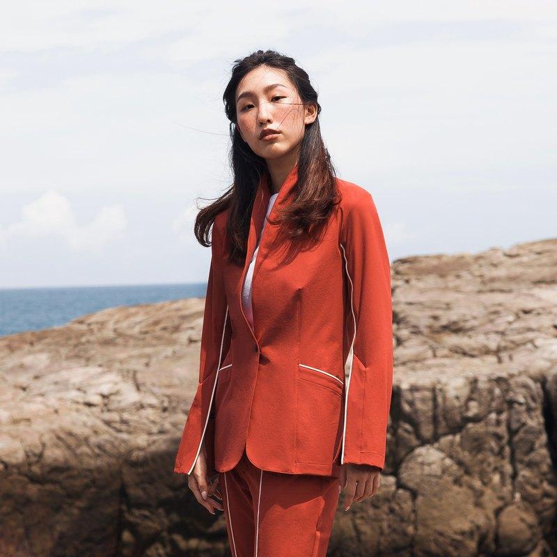 女士彈性西裝外套 (紅褐色)