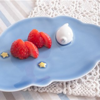 Three shallow ceramic | Original glutinous rice dumpling (Azure) and dessert saucer pure hand-painted creative birthday gift