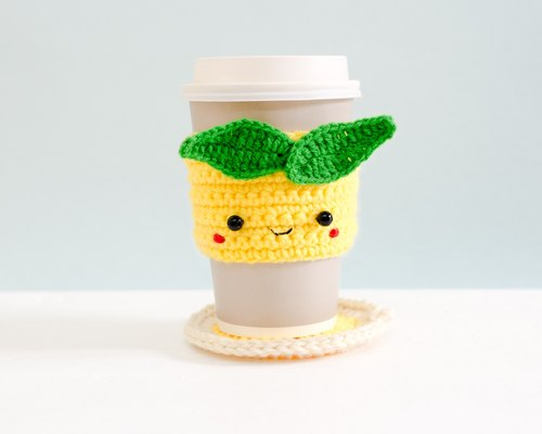 Crochet Cozy Cup with Coaster - The Yellow Lemon.
