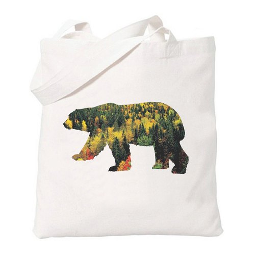 Bear-Forest Xiong Sen Lin Wenqing simple fresh original literary canvas shoulder bag green shopping bags - beige
