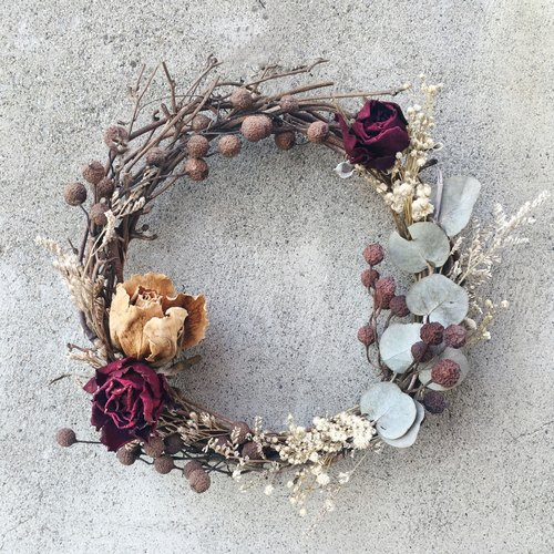 Hand Rose dried wreath garland stock