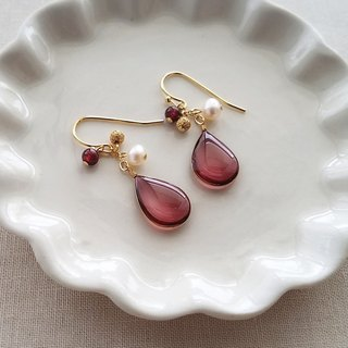 burgundy drops pierced or clip-on earrings