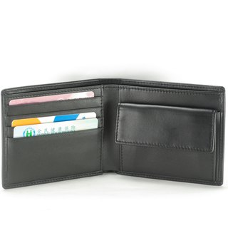 Yasuda male short clip leather wallet 4 card coin bag black paid customized lettering service