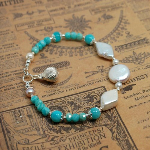 Nami - 925 sterling silver pearl bracelet Amazonite reproduce the old goods
