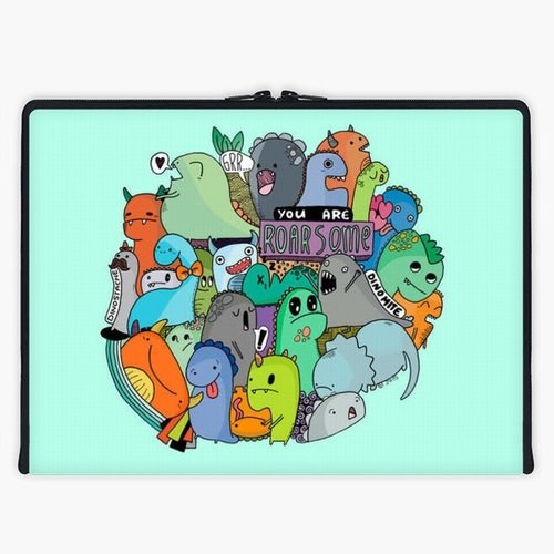 Axis - Custom 3-Sided Zipper Laptop Sleeve - Roarsome Dinosaurs