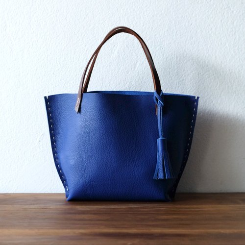 Tiny Bright Blue Tote Bag / Small Handmade Blue Handbag
