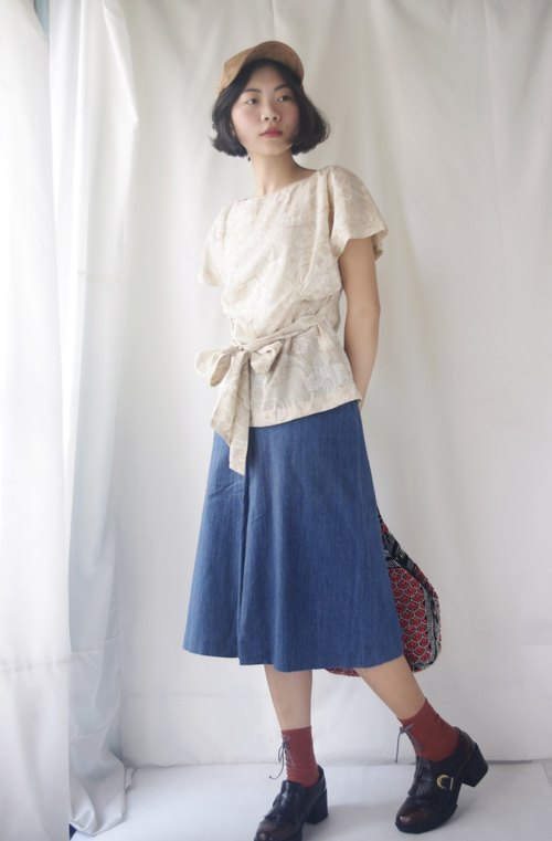 4.5studio-treasure treasure ancient - elegant rice white printed retro waistband (angelblue reservation)