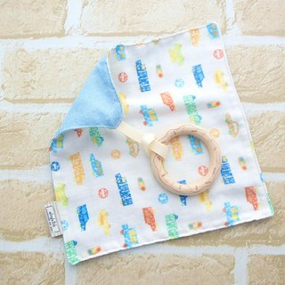 Baby Teething Blanket, Rattle Teether, Wooden Toy, Japanese Cotton, Pastel Cars