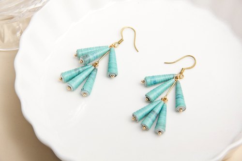 Classic Lake Green Cone Drop Earrings