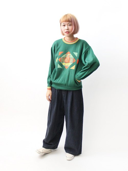 [RE1204SW020] Nippon playful green round neck loose knit wool sweater vintage
