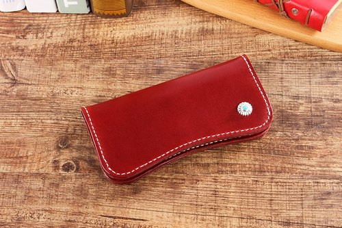 [Cut line] Italian vegetable tanned leather handmade leather ladies wallet π-shaped long clip 005 wine red