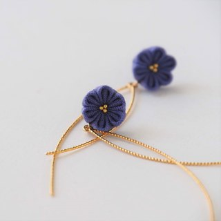 Elegant Purple Flower Sparkling Gold Wave Earrings Clip-on 14KGF, S925 custom