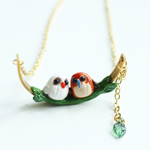 Love II Owls necklace - polymer clay handmade necklace
