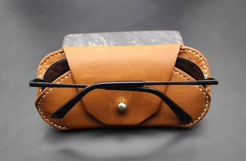 Double custom handmade leather protective sleeve glasses box glasses set