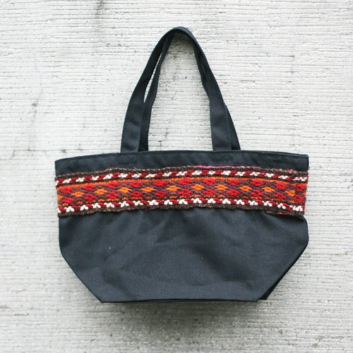 Omake Uzbek embroidered shopping bag (black)