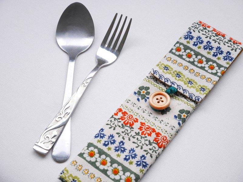 綠碎花環保餐具套-不含餐具