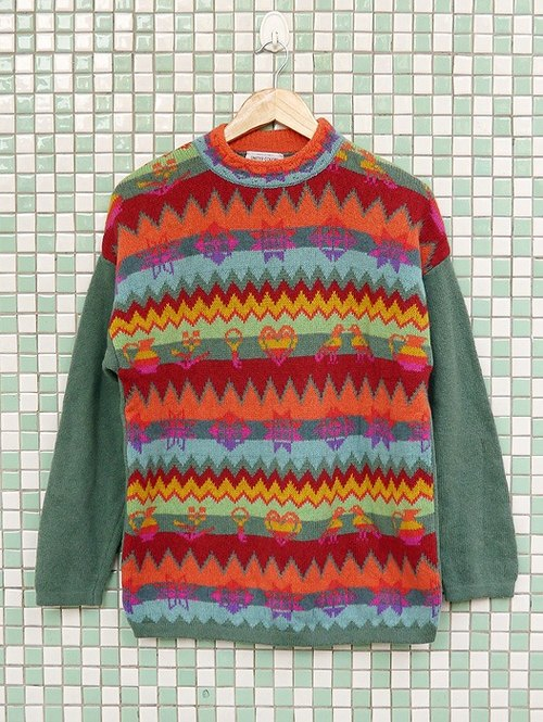 ♦♦ ◈ invincible children music vintage line ◈ ♦♦ classic antique vintage Italian flour color hippie ethnic pattern long sweater