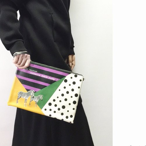 時尚斑馬雙面印花手拿包 Trendy Zebra Clutch by Shuki Design