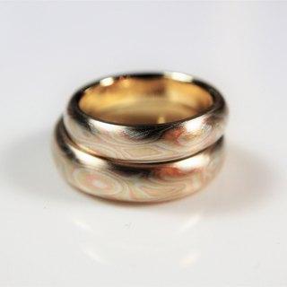 Element47 Jewelry studio~ Karat gold mokume gane wedding ring 21 (14KY/14KR/925)