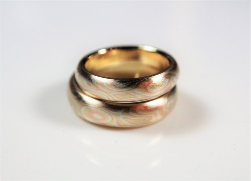 Element 47 Jewelry studio~ Karat gold mokume gane wedding ring 21 (14KY/14KR/925) (Two Ring Set)