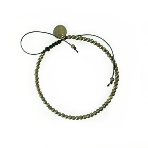T'asam handmade retro brass beads small mountain bracelet texture