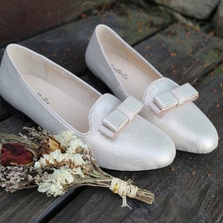 Pride aristocrat classic knot decorated shoes _ pearl powder