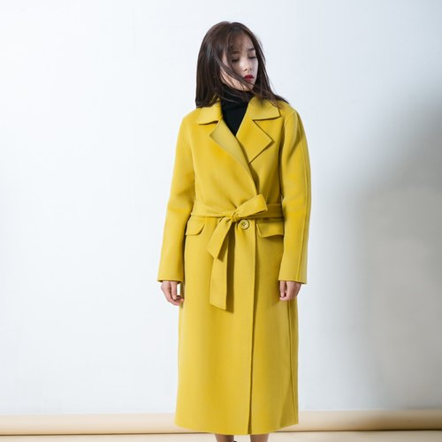 Annie Chen new winter thick fleece wool coat female woolen coat long exhausted Korean version was thin