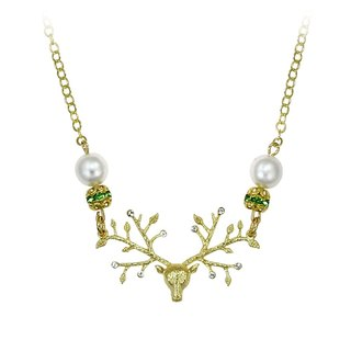 Deer deer Chime pearl brass necklace