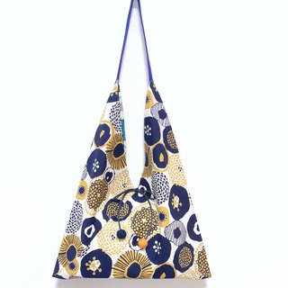 Japanese-style 侧-shaped side backpack / large size / blue and yellow geometric flower - blue strip