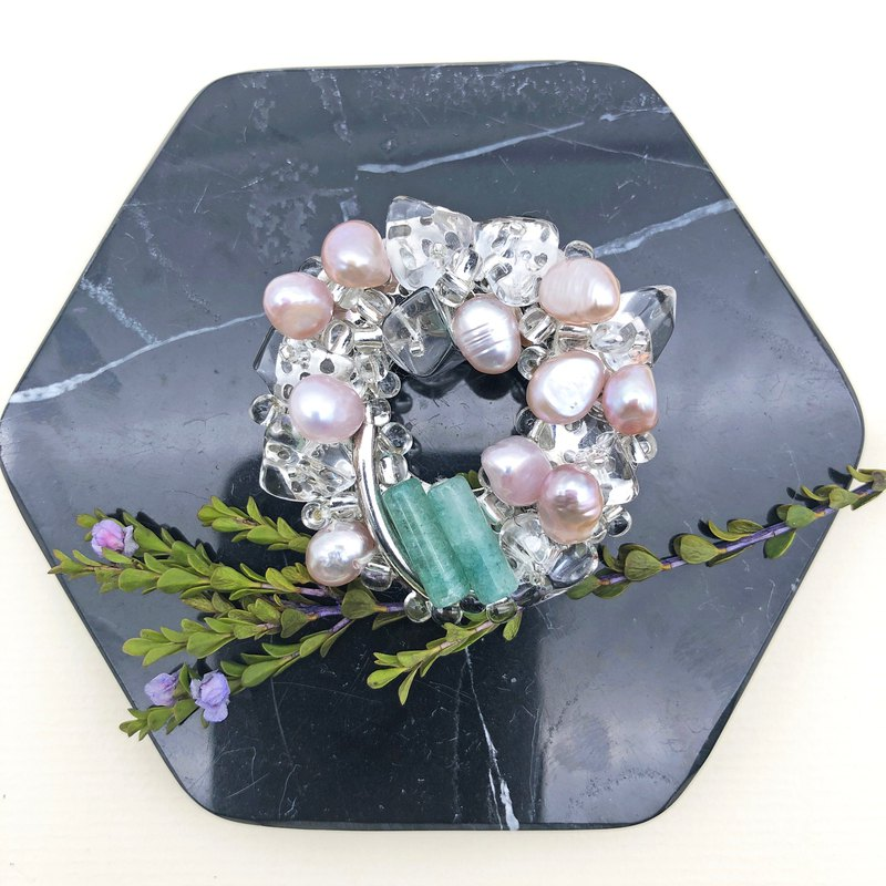 Exquisite - Japanese Style Brooch【Mini Pearls& Jade】【Valentines Day Gift】