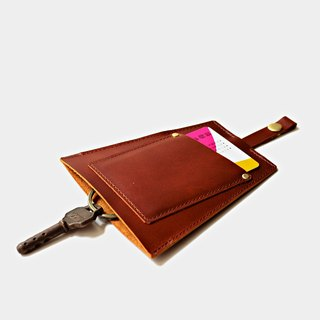 [Yellow boy home road] leather key bag red brown leather can put cards leisure card credit card customer lettering when the gift Valentine's Day gift