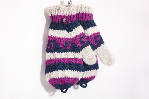 Limited a knitted pure wool warm gloves / 2ways Gloves / Toe gloves / bristles gloves / knitted gloves - Eastern Europe hit color national totem