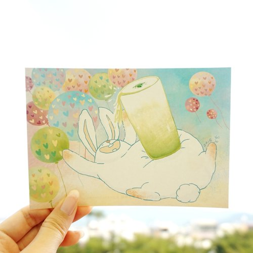 [Illustration] burden rabbit postcard - Flying Matcha latte