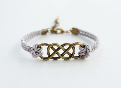 Infinity brass bracelet / light gray