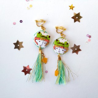 Hand - painted embroidered illustration earrings frog little me earring