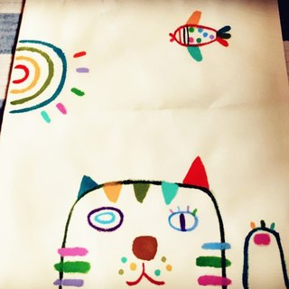 [Pure hand-painted] small bag | reusable shopping bag | canvas bag | cat | lovely wind