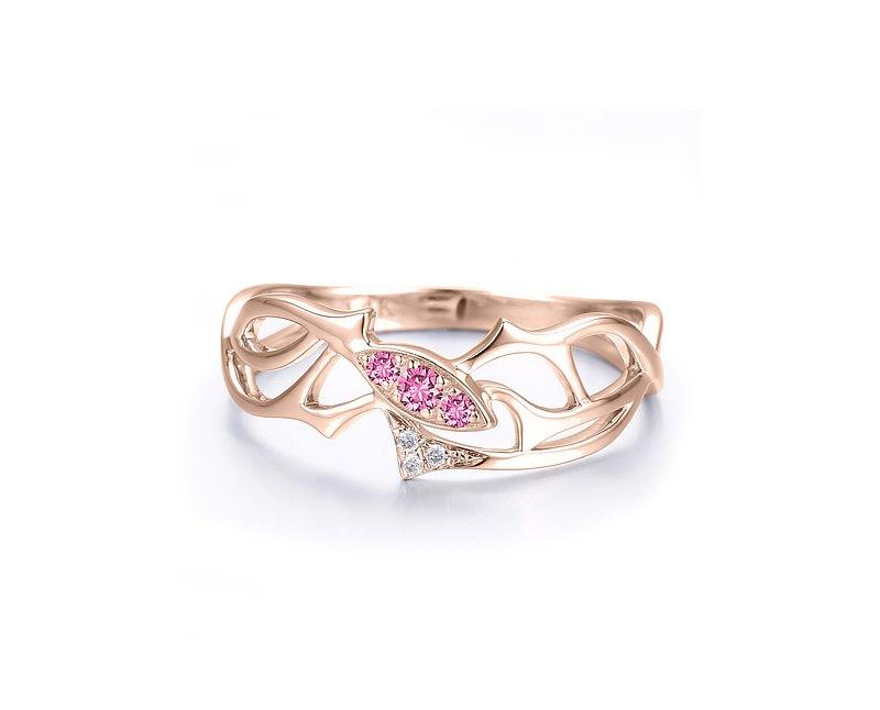 粉紅寶石14k鑽石馬眼形訂婚戒指 樹枝造型求婚鑽戒 荊棘結婚戒指
