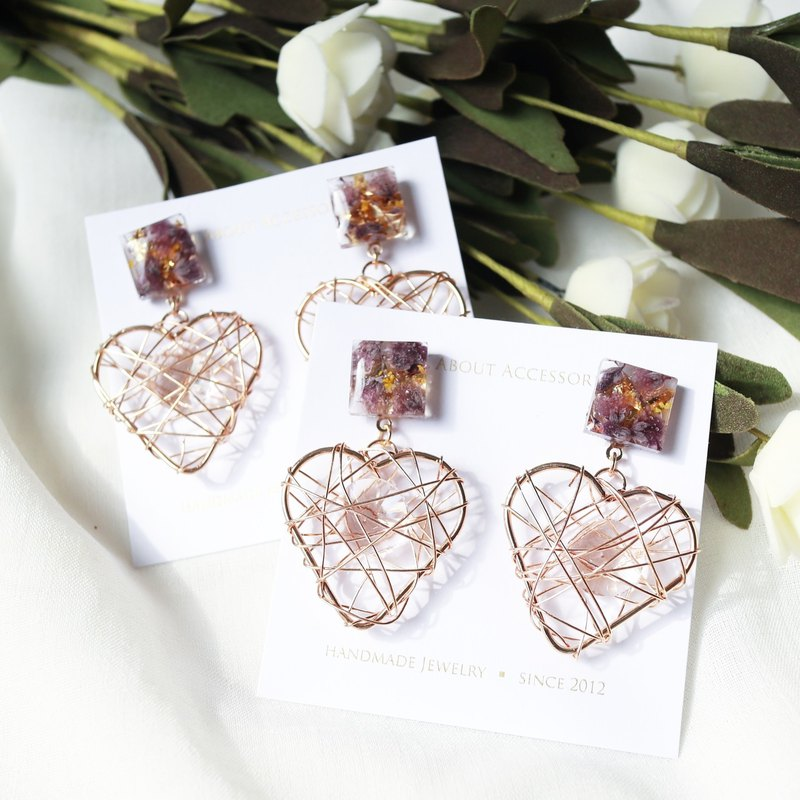 Eternal Life Series - Copper Heart Earrings