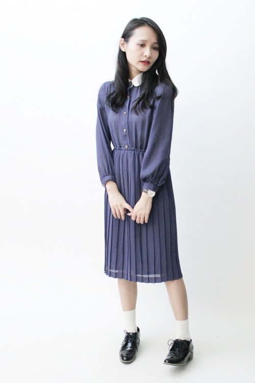 [RE0921D898] autumn blue bottom minimalist elegance Shuiyu little long-sleeved vintage dress