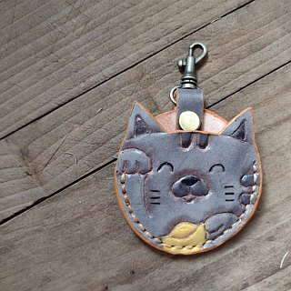 Cute cat gogoro key monarch gray pure leather leather cover back lettering