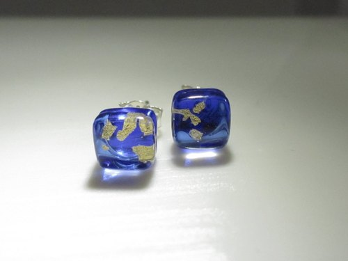 × | gold series | × glass earrings - STC Deep Blue - [] type
