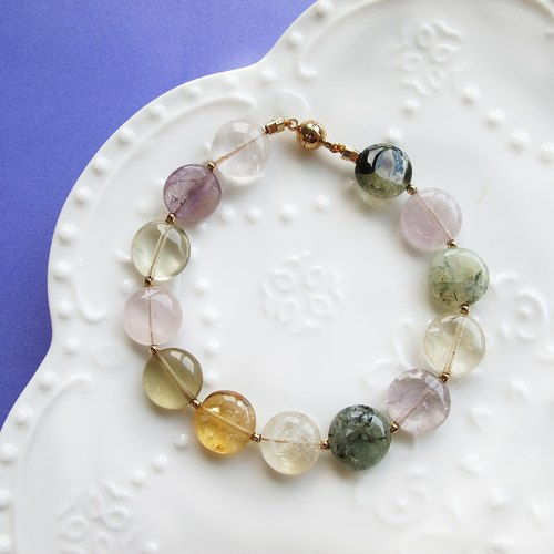 Candy color amethyst, citrine, rose quartz, rutilated quartz gemstone bracelet