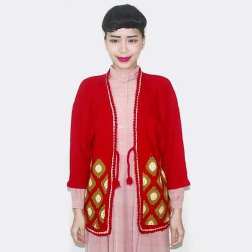 (Special) Red knitting pattern knitting vintage short kimono jacket AY5004