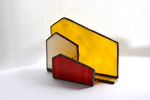 House Sunset cabin stained glass business card holder