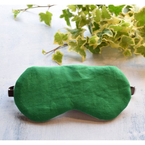 Linen Green eye mask/with a bag/travel/sleep mask/simple/natural/summer